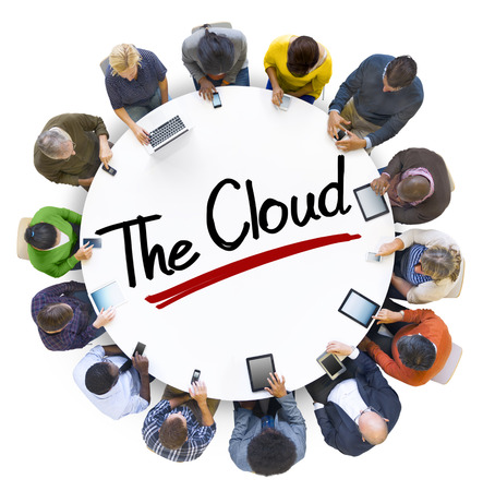 Aerial View of People and Cloud Computing Concepts photo