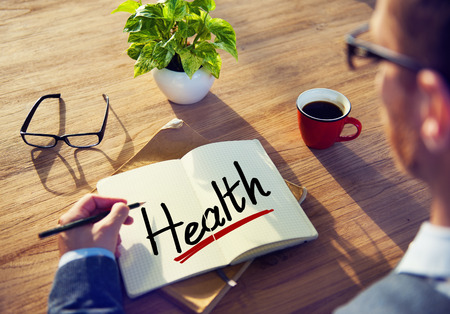 workplace wellness: A Man Brainstorming about Health Concepts