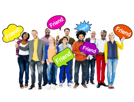 Group Of Multi-Ethnic People Holding Speech Bubbles With The Word Friend