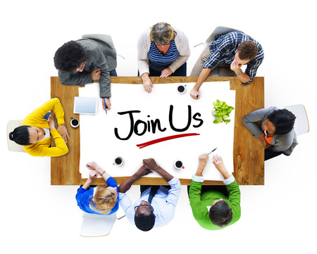 MEMBERSHIP: Multiethnic Group of People Discussing About Join Us