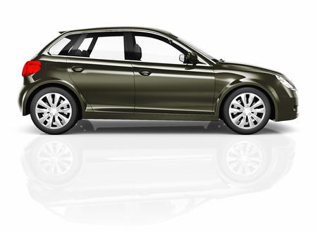 shiny car: Shiny Dark Green Compact car studio shot.