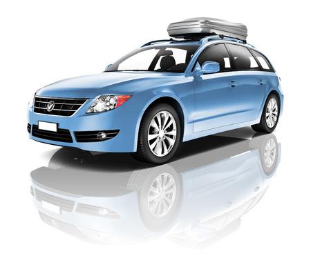 青い車の三次元画像 写真素材