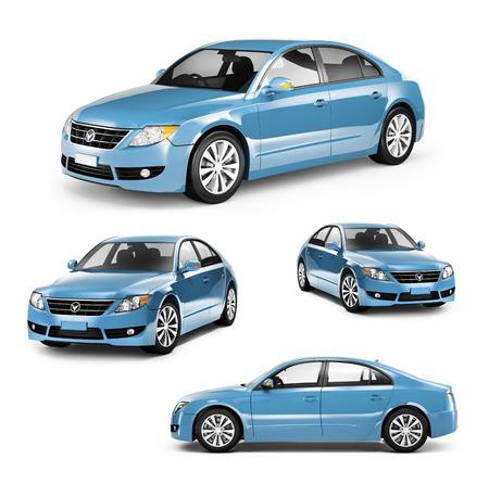 別の位置に青い車の画像 写真素材