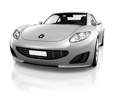 car front view: Sports car on a white background.