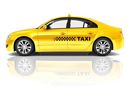 isolated on yellow: Side View Studio Shot Of Yellow Sedan Taxi Car Stock Photo