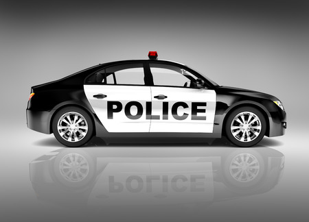 car front: 3D police car Stock Photo