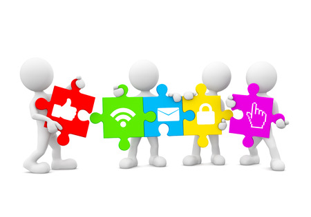 Three Dimensional Image of White Human Icons Holding Jigsaw Pieces with Social Networking Icons photo