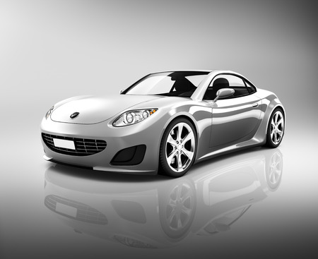 isolated on grey: Luxury Silver Sports Car
