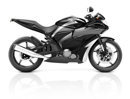 three dimension shape: 3D Image of a Black Modern Motorbike