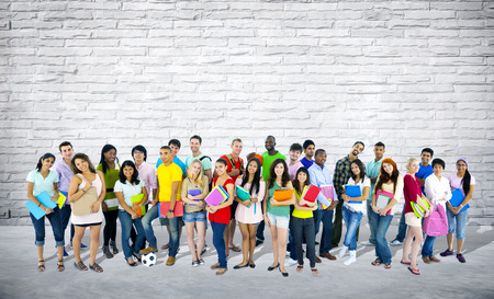 mixed age: Group of mixed age and race students.