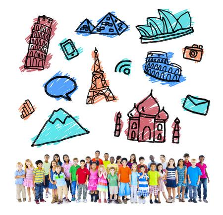 destinations: Large Group of Multiethnic Children Travel Destinations