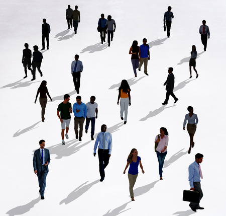 asian business people: Crowd Diverse People Walking Isolated Concept