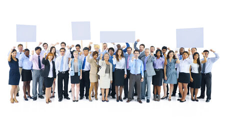 organised group: Large Group of Business People Holding Board