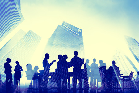 비즈니스 사람들이 회의 통신 도시 풍경 개념 스톡 콘텐츠