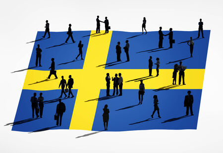 the swedish flag: Swedish flag and a group of business people.