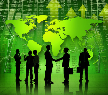 economic recovery: Group Of Multi-Ethnic Business People Working On A Global Economic Recovery Themed Background
