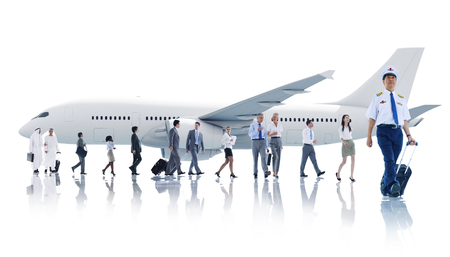 Multiethnic Group of Business People with Airplane photo