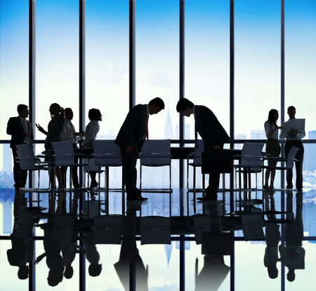 bowing: Japanese Business People Bowing Down Office Concept