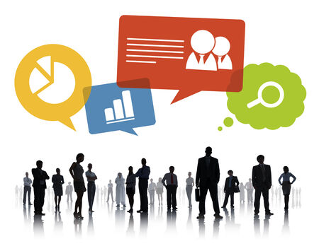 Silhouette of Business People Teamwork Infographic photo