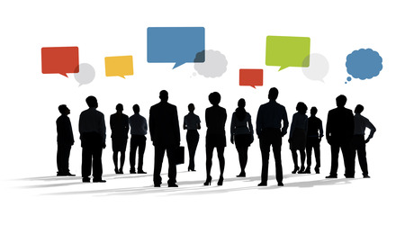 working group: Silhouette Group Of Business People with Speech Bubbles Stock Photo