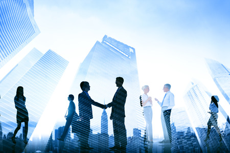 Business Handshake Corporate Meeting City Concept Stockfoto