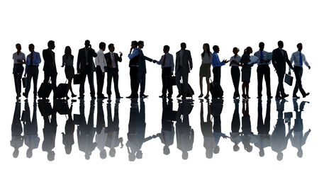 medium group of people: Silhouettes of Business People Working