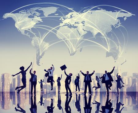 Global Business Mensen Success Cityscape Concept Stockfoto