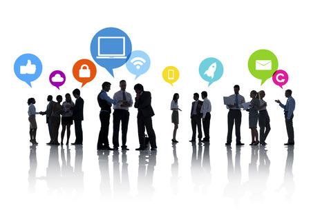 personas hablando: La planificaci�n estrat�gica de negocios Foto de archivo