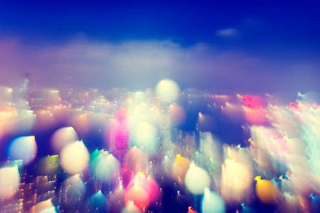 City Scape Colorful Lights Concept Stock Photo