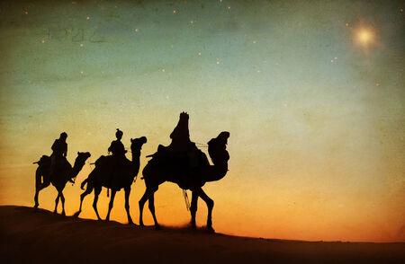 saddle camel: Group of People Riding Camel Isolated on Background