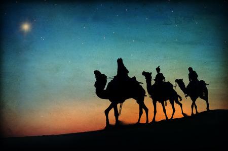 Three Kings Wüste Stern von Bethlehem Geburt Konzept Standard-Bild - 34402629