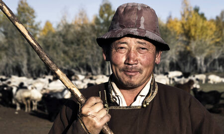 independent mongolia: Portrait of mongolian man famer.