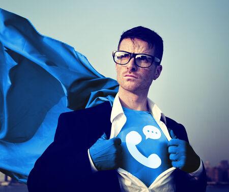 changing form: Strong Superhero Businessman Telecommunication Concepts Stock Photo