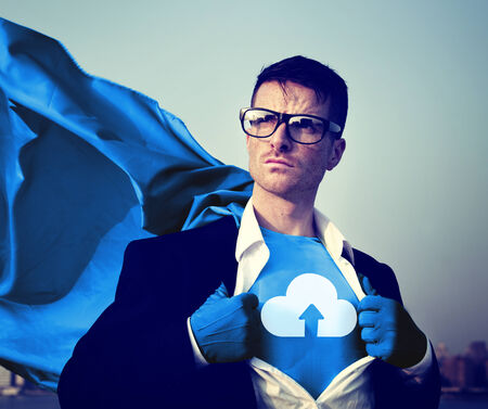 changing form: Strong Superhero Businessman Cloud Storage Concepts