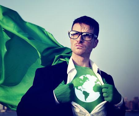Superhero Businessman Earth Logo Concept Stock Photo