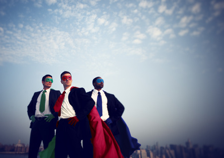 business person: Businessmen Corporate Superhero City Concept
