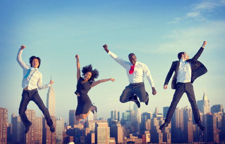 empresarial: Logro Gente de negocios Éxito City Concepto Foto de archivo
