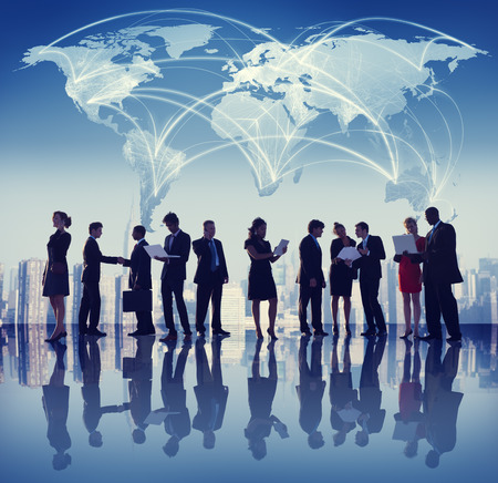 world communication: Global Business People Meeting Working City Concept