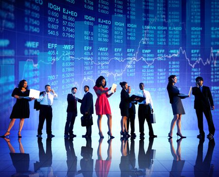 Group of Business People Stock Market Concept photo