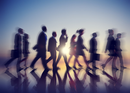 striding: Business People New York Commuting Concept Stock Photo