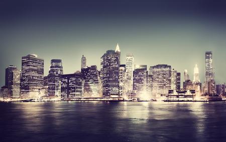 water panoramic: New York City Panorama Night Concept