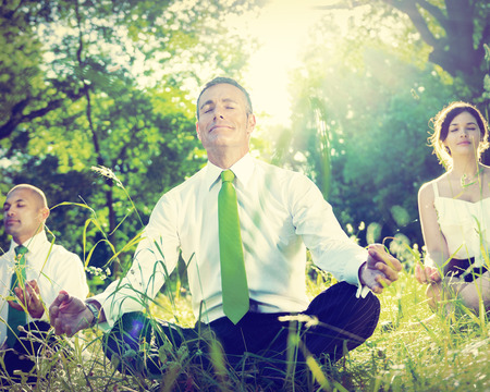 Business People Yoga Relaxation Wellbeing Concept 版權商用圖片