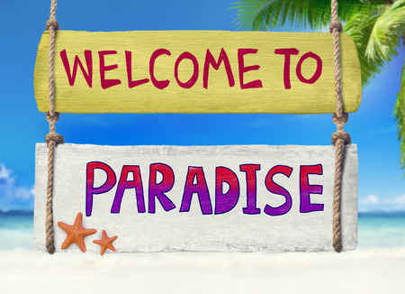 Colorful Wooden Signpost Hanging on a Tropical Beach photo