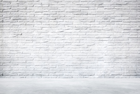 stone wall: White Brick Wall and Cement Floor