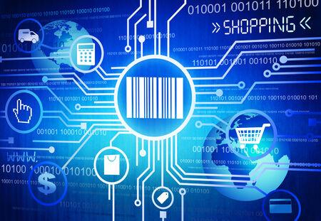 tecnolog�a informatica: Iconos y s�mbolos que describe Online y Digital Shopping Foto de archivo