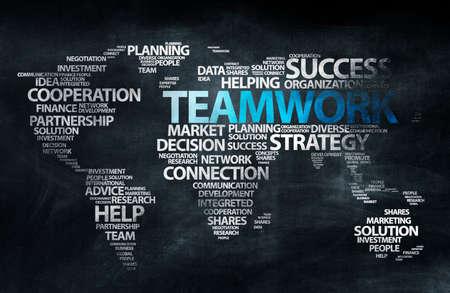 teamwork: Blackboard Education World Teamwork Concept