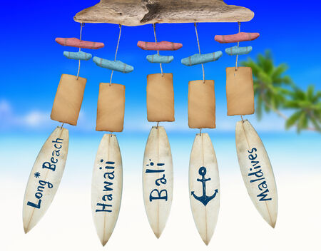 wind chime: Beach Wind Chime with Copy Space Stock Photo