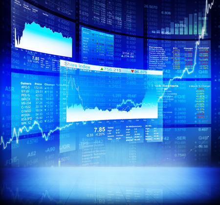 forex trading: Blue Stock Diagram with Information Background Stock Photo