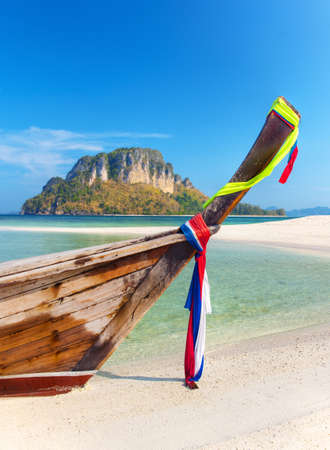 long tailed boat: Long tailed boat from a tropical island in Thailand. Stock Photo