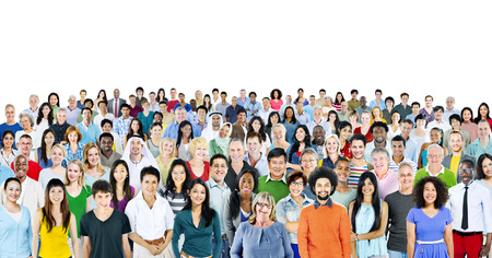 Multi-etnische groep van mensen glimlachen Stockfoto
